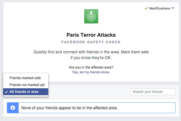 Facebook safety alerts in use in Paris