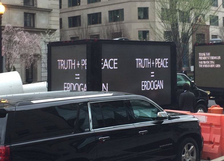TRUTH + PEACE = ERDOGAN: Erdogan's campaigners stage anOrwellian spectacle in Washington, D.C.