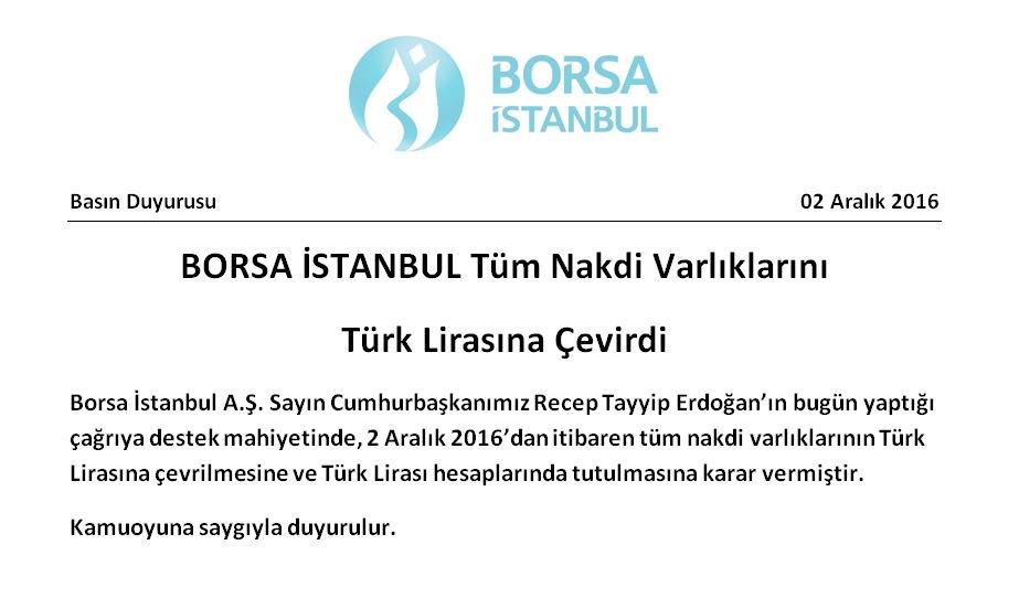 Borsa Istanbul announcement